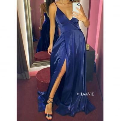 Vestido de Festa Azul Marinho Alcinha com Fenda