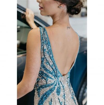 Vestido de Festa Azul Safira