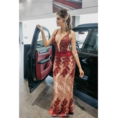 Vestido de Festa Camélia Marsala