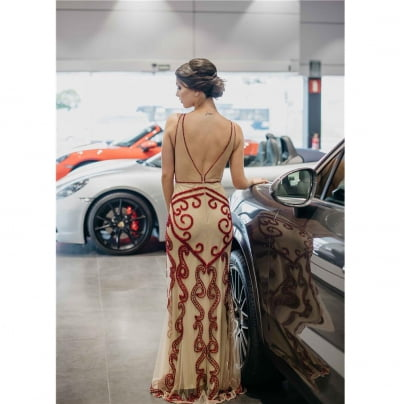 Vestido de Festa Marsala Nude