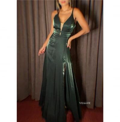 Vestido de Festa Verde Escuro