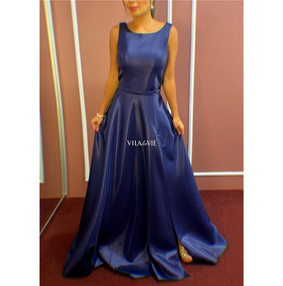 Vestido de Festa Azul Marinho Princesa Mikado