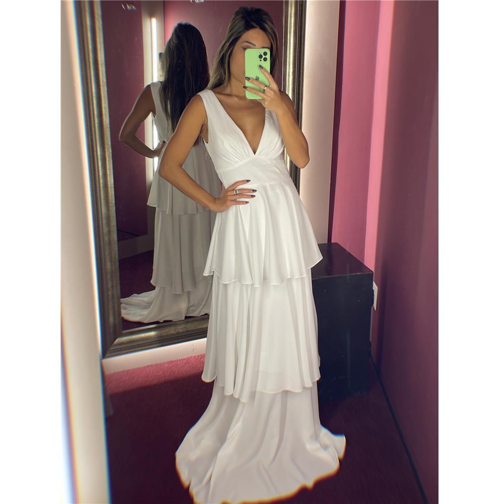 Vestido de Festa de Babados Midi ou Longo Branco