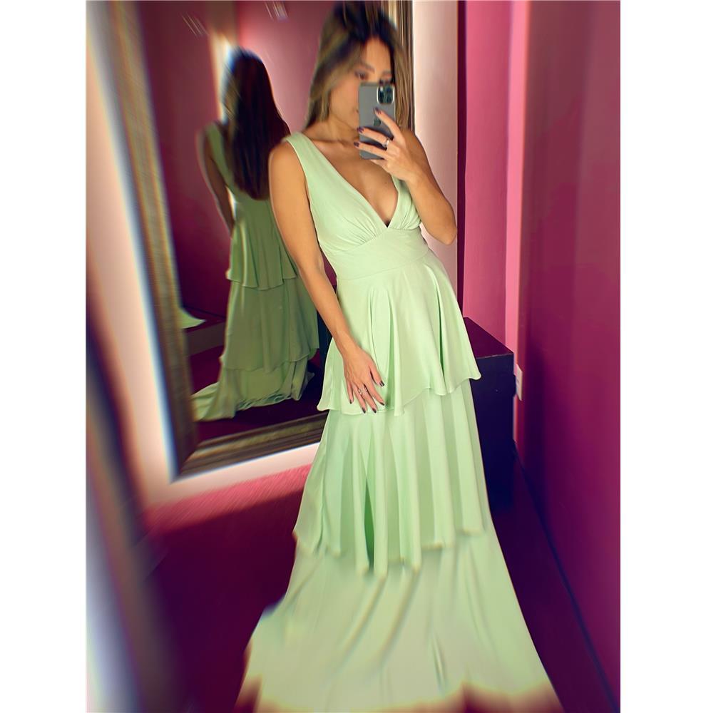 Vestido de Festa de Babados Midi ou Verde Menta